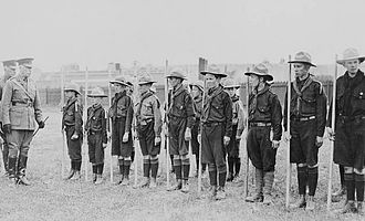 Scout staff - Canadian Boy Scouts on parade with their staves at Calgary in 1915.