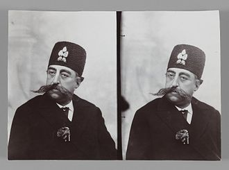 Mozaffar ad-Din Shah Qajar - A Double Portrait of Mozaffar al-Din Shah, One of 274 Vintage Photographs. Brooklyn Museum