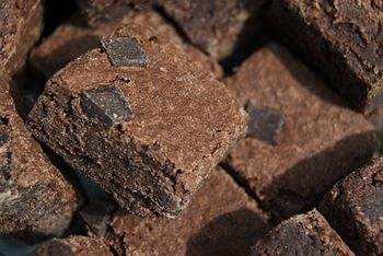 Brownies with chocolate chunks.