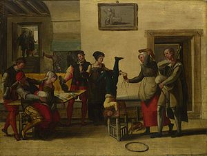 Brunswick Monogrammist - Itinerant Entertainers in a Brothel (1550s). Oil on wood, 45.5 cm × 60.7 cm. In the collection of the National Gallery, London