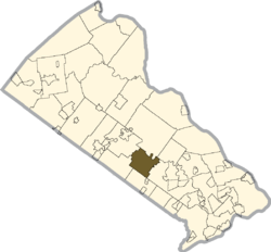 Location of Warwick Township in Bucks County