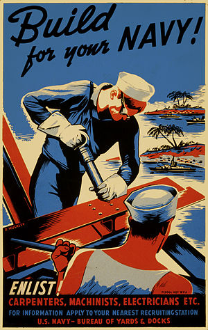 Seabees in World War II - WWII recruitment poster