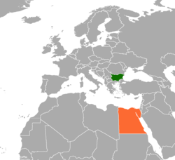 Map indicating locations of Bulgaria and Egypt