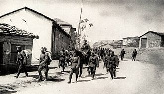 Military history of Bulgaria during World War II - Bulgarian troops entering a village in northern Greece in April 1941.