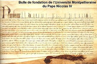 University of Montpellier - The Quia Sapientia bull in 1289 Pope Nicolas IV