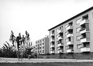 Social issue - Housing project in Bremen-Vahr in the 1960s, back then most tenants living in housing-projects were two parent families with at least one parent working. In many housing projects the composition of tenants has changed since then and now many tenant-families are headed by a single female or an unemployed male