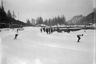 Armand Carlsen - The race between Carlsen (left) and Erhard Mayke (right) at the 1928 Winter Olympics