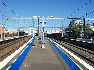 Burwood railway station, Sydney - Westbound view from Platform 4 in October 2011