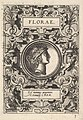Bust of Florae surrounded by strapwork, from the series 'Deorum dearumque,' a set of images of deities after coins in the collection of Abraham Ortelius MET DP828767.jpg