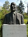 Bust of Mátyás Mohácsy by György Jovánovics, 1976 in the Upper garden of Buda Arboreta.JPG