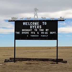Byers, Colorado - A welcome sign in Byers.