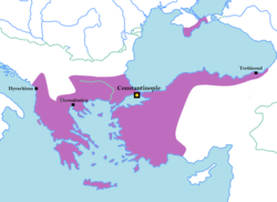 The Byzantine Empire on the eve of the Fourth Crusade, in 1203 AD.