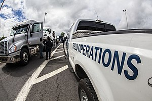 Manhunt (law enforcement) - CBP officers at the Area Port of Champlain conducting 100% inspection of all truck traffic at the Area Port of Champlain on June 15 looking for Richard Matt and David Sweat