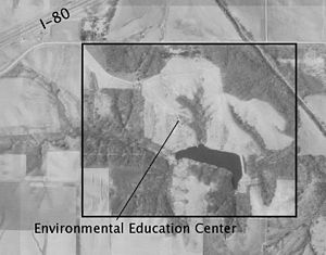 Conard Environmental Research Area - Aerial photo of the site, 1994. Interstate I-80 is at the top left and the Environmental Education Center is indicated by the line at center.
