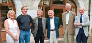 CERN Courier - The 50th anniversary of the first publication of the CERN Courier provided the opportunity for a modest celebration on 2 September 2009. All six of the principal editors that the magazine has had over its 50 years met together for the first time. After getting acquainted and re-acquainted over lunch, they gathered in the library at CERN to answer questions about producing the magazine over the years. From right to left: Roger Anthoine, Alec Hester, Brian Southworth, Gordon Fraser, James Gillies and Christine Sutton.