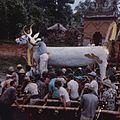 COLLECTIE TROPENMUSEUM Een doodskist in de vorm van een stier wordt tijdens een crematie naar de verbrandingsplaats gedragen TMnr 20017937.jpg