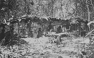"Orang Rimba people - Kubu people in a shelter in the woods in the Upper Tebo-""streken"" in the residence Jambi."