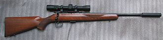 Silencer (firearms) - CZ 452 bolt-action rimfire rifle with silencer
