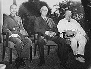 The Allied leaders of the Asian and Pacific Theaters: Generalissimo Chiang Kai-shek, Franklin D. Roosevelt, and Winston Churchill meeting at the Cairo Conference in 1943.