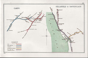 Sellafield railway station - Historical diagram; Sellafield on right showing line to Egremont