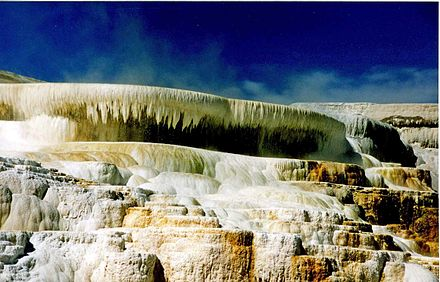 Travertine calcium carbonate deposits from a hot spring CanarySpring.jpg