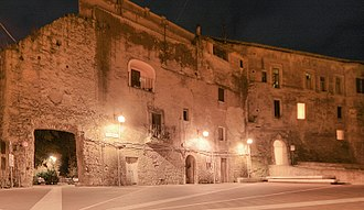 Capena - Frontage of the former monastery at night