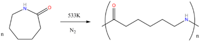 Polymerization of caprolactam to Nylon 6.