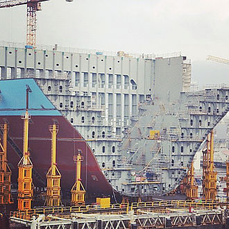 Maersk Triple E-class container ship - Section of a Triple E-class ship, under construction