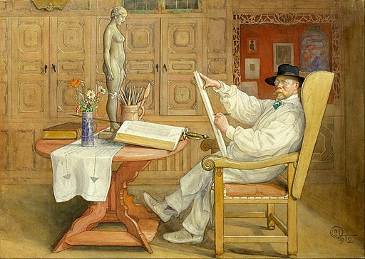 Carl Larsson - Self-Portrait (In the new studio) - Google Art Project