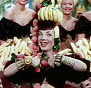 Tropicália - Carmen Miranda in 1950. Although initially despised by national intellectuals, Miranda's kitch and campy aesthetic exaggeration and association with a tropical, stereotypical Brazil was embraced by tropicália.