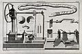 Carpentry; a lathe, with an assortment of tools and a snake Wellcome V0023914.jpg
