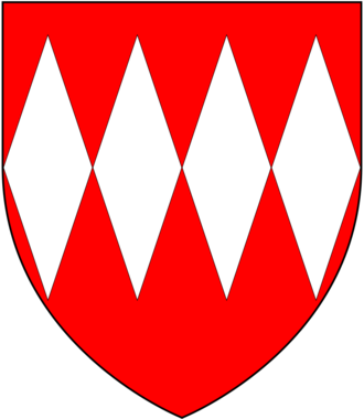 Baron Carteret - Arms of Carteret: Gules, four fusils in fess argent