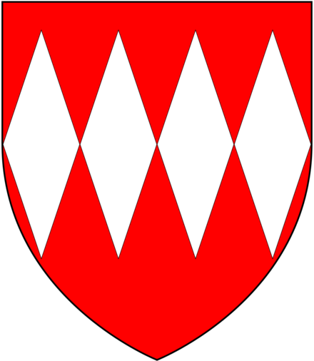 Arms of Carteret: Gules, four fusils in fess argent CarteretArms.png