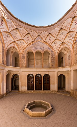 Interior courtyard of the Tabātabāei House, a historic house in  Kashan, Iran.