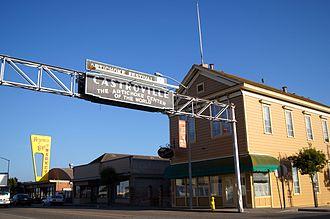 Castroville, California - Castroville Sign and La Scuola on Merritt Street