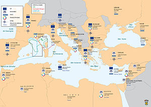 Commander-in-Chief, Mediterranean (France) - Mediterranean military zone under the command of CEMED with the accords and associations of France with the riparian countries and the number of French nationals in these countries.
