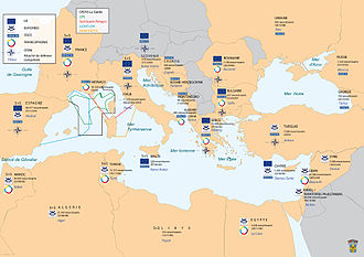 Commander-in-Chief, Mediterranean (France) - Mediterranean Sea Area under the command of CECMED with the agreements and associations of France with the riparian countries and the number of French nationals in these countries.