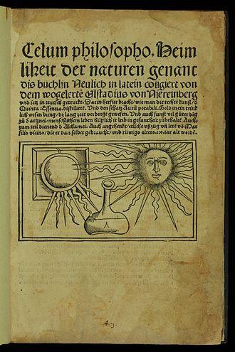Iatrochemistry - Coelum philosophorum by Philippus Ulstadius, 1527