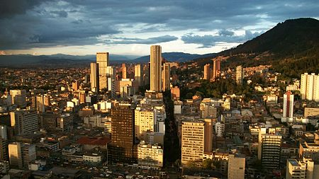 Bogota is the third largest city within city limits in South America by population, after Sao Paulo and Lima Centro internacional.JPG