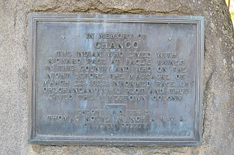 Chanco - Memorial to Chanco on the Surry County Courthouse lawn