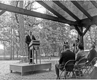 Tom McCall - McCall speaking at the Charles A. Sprague Tree Seed Orchard dedication ceremony in Merlin, Oregon, October 23, 1969.