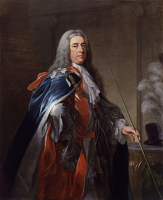 Staff of office - Charles FitzRoy, 2nd Duke of Grafton (d. 1757), carrying the thin white staff of the Lord Chamberlain.