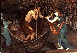Charon's obol - Charon and Psyche (1883), a pre-Raphaelite interpretation of the myth by John Roddam Spencer Stanhope