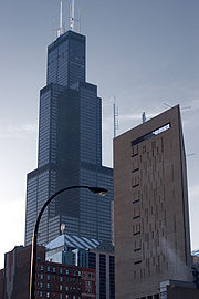 The Sears Tower, at 108 Stories, stands as Chicago's tallest building since its completion in 1974 and is the tallest free standing structure in the United States.