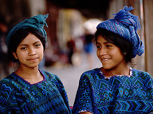 Demographics of Guatemala - Indigenous girls in Chichicastenango