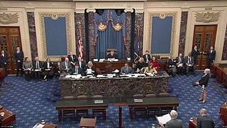 Chief Justice John Roberts presides over the impeachment trial of Donald Trump.jpg
