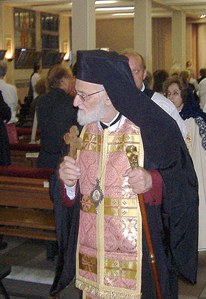 Italiano: Gregorio III durante una Divina Liturgia