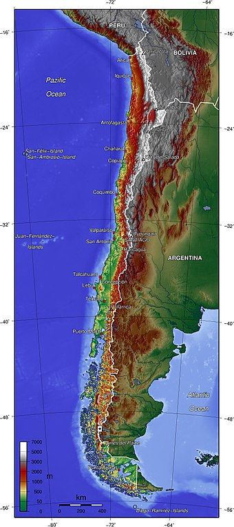 Topographic map of Chile. To view maps based on SRTM topographic relief of the country, see here. Chile topo en.jpg