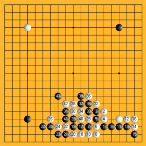 Kifu - A recording of Wang Jixin's game v. Yushan Laoyu (Ancient China, Tang Dynasty). Expand for a clearer view. Note that the moves are numbered consecutively. The numbering here starts after the first four (unnumbered) moves have been played.