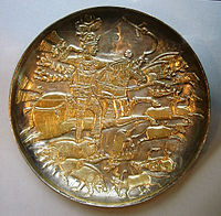 Hunting scene on a gilded silver bowl showing king Khosrau I.